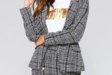 With labeled t-shirt and tweed blazer