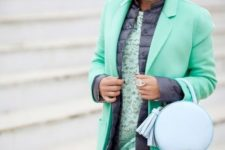 With lace dress, beret, puffer vest and long blazer