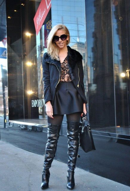 With leopard blouse, black skater skirt, black jacket and bag