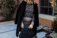 With leopard sweater, leopard skirt, black coat and black bag