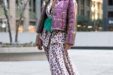 With printed blazer, midi skirt, green bag and metallic puffer jacket