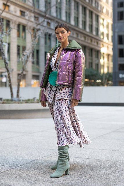 With printed blazer, midi skirt, green bag and metallic puffer jacket