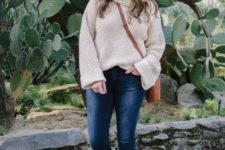 With skinny jeans, brown crossbody bag and beige shoes