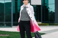 With striped shirt, black pants, black shoes and leather bag