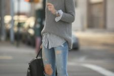With striped shirt, distressed jeans, black bag and gray pumps