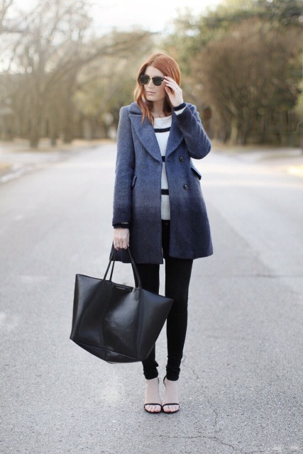 With striped shirt, skinny pants, tote bag and shoes