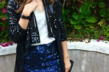 With top and blue sequin mini skirt