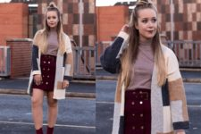 With turtleneck, marsala high-waisted mini skirt and marsala ankle boots