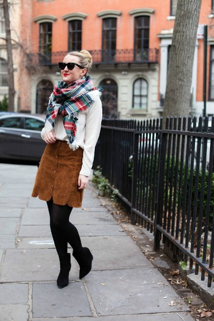 With white blouse, plaid scarf and brown suede mini skirt