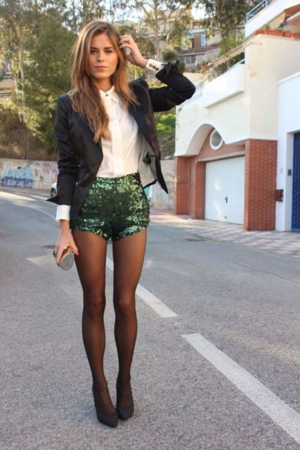 With white button down shirt, blazer, clutch, tights and pumps