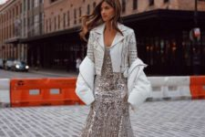 With white high boots, embellished blazer and white jacket