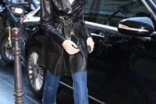 With white t-shirt, cropped jeans and black leather boots