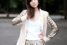 With white top and sequin blazer