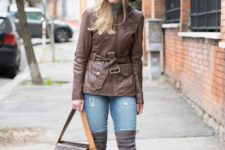 With wide brim hat, distressed jeans, gray over the knee boots, printed bag and gray turtleneck