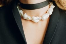 a black leather choker paired with a baroque pearl choker will create a super contrasting tough yet girlish look