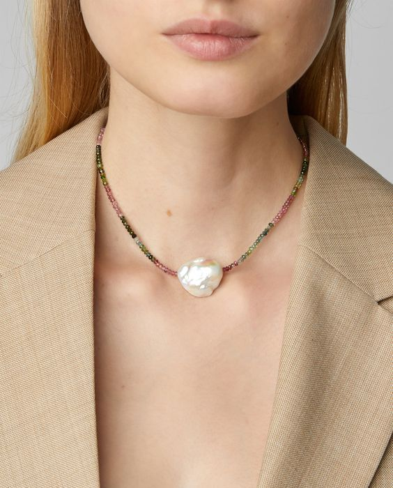 a colorful little bead necklace with a statement baroque pearl is a bold solution with a touch of color
