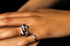 a delicate silver polished ring plus a matching yet statement one for a bold look