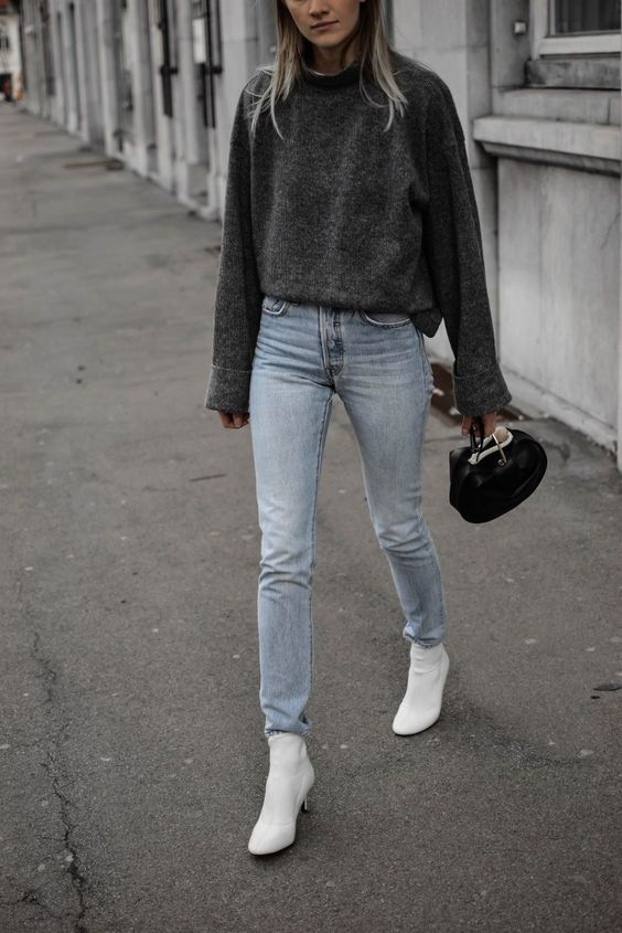 a minimal look with a grpahite grey sweater, light blue jeans, white booties and a small black bag