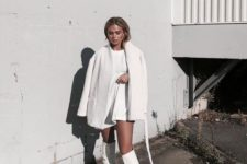 a total white look with a mini dress, a faux fur coat and tall boots is a minimal and stylish idea