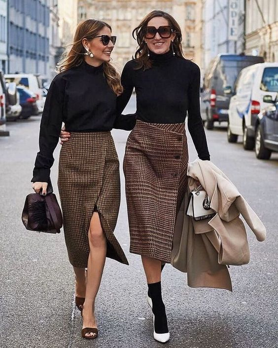 black turtlenecks, wrap tweed skirts on buttons and not, neutral coats and shoes and booties