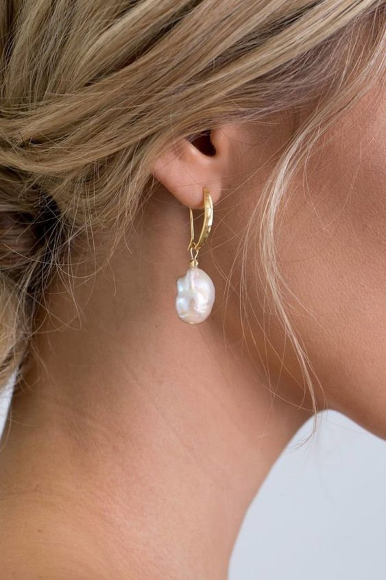 chic gold hoop and baroque pearl earrings are all the rage right now, try them for sure