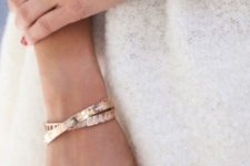 stacked rose gold bracelets with pretty textures and shapes and a matching watch on a blush cutout leather strap