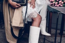 such wide 70s style white boots are all the rage right now, they will make a fashionable statement