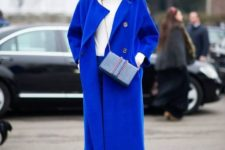 02 a classic blue coat and blue pants and shoes to support the color scheme of the look