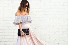 02 a striped off the shoulder top, a pink pleated midi skirt, nude shoes and a black clutch