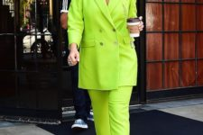 03 Rita Ora rocking a neon green pantsuit with an oversized blazer and silver shoes looks wow