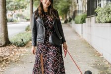03 a dark moody midi dress, a black leather jacket, a round bag and suede booties