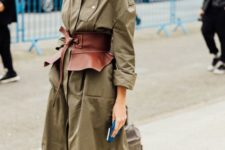 03 an olive green midi shirtdress with long sleeves, a brown corset belt for a girlish accent