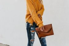 04 a shabby-inspired mustard sweater, ripped jeans, neutral shoes and a brown leather clutch