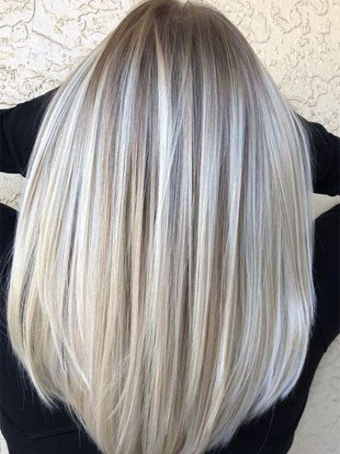silver and ashy blonde balayage on darker hair is a chic idea to play with trendy colors