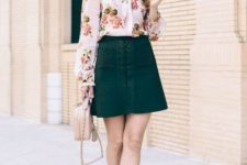05 a floral blouse with a bow, a dark green lace up skirt, a neutral bag and espadrillas