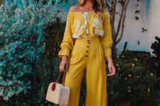 05 a whimsy look with a yellow lace boho off the shoulder blouse, matching high waisted culottes, blue shoes and a wicker bag
