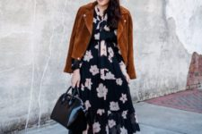 06 a black floral midi dress, black booties, a black bag and a rust-colored suede cropped jacket