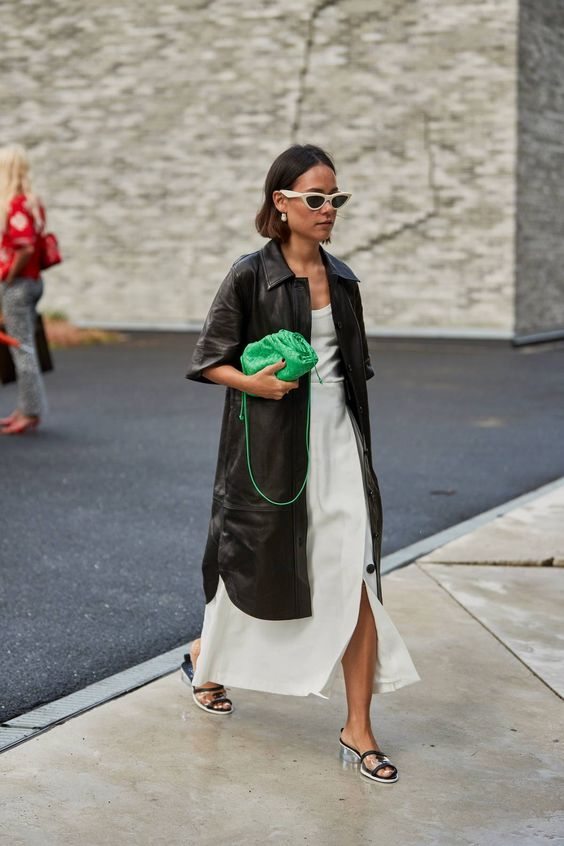 a little green soft clutch paired with another trend - microbags - looks very bold and statement-like
