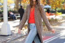 06 a red shirt, light blue straight jeans, whimsy white shoes and a chhecked brown coat