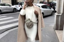 06 a white sweater, a midi pencil skirt, white trainers, a camel coat and a snakeskin bag