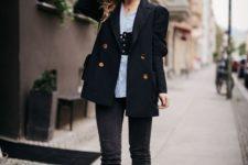 06 black skinnies, a blue striped shirt, a black corset belt, a black blazer and gold booties