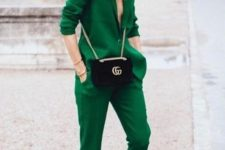 07 a bright green pantsuit, white sneakers and a black crossbody for a bold look at work