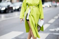 07 a neon green oversized coat with pockets is a cool solution for this spring to look edgy