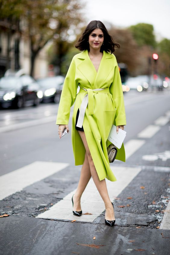 a neon green oversized coat with pockets is a cool solution for this spring to look edgy