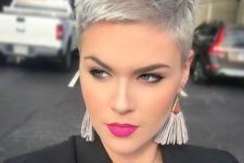07 a silver short pixie haircut is super bold, chic and stylish and is a very trendy solution