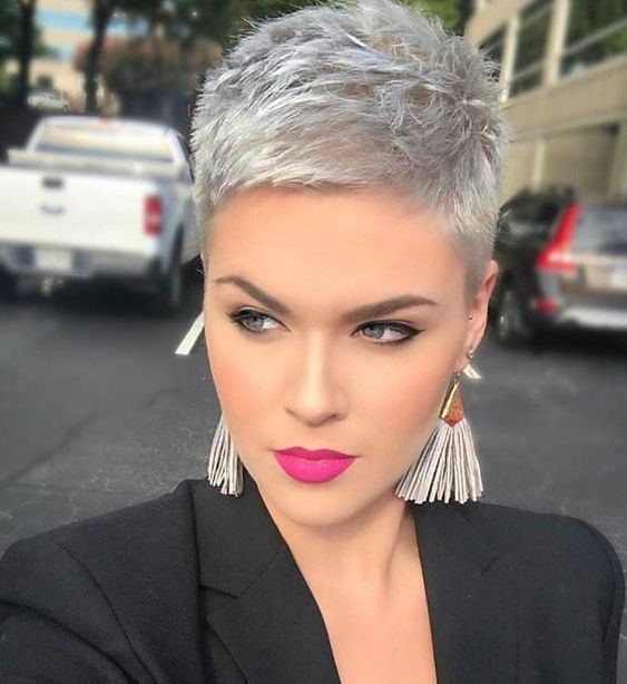 a silver short pixie haircut is super bold, chic and stylish and is a very trendy solution