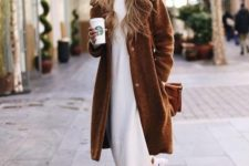 07 a white turtleneck midi sweater dress, white sneakets, a brown faux fur coat and a brown bag