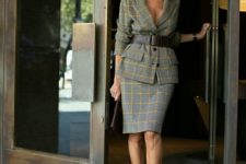 08 a chic plaid suit with a skirt, a black wide leather belt and yellow shoes for a bold work look