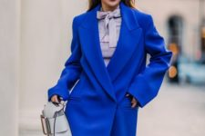 08 an oversized classic blue coat is a trendy item for this spring or fall, it will make your look bright