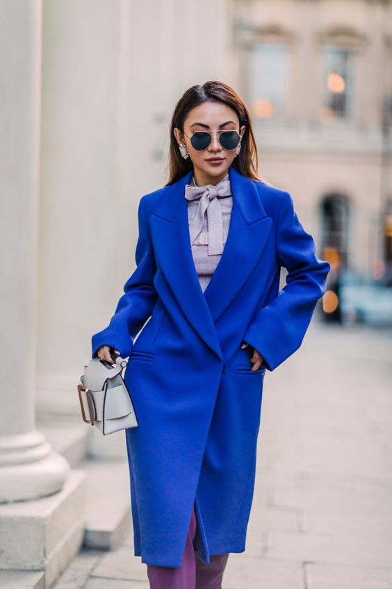 an oversized classic blue coat is a trendy item for this spring or fall, it will make your look bright